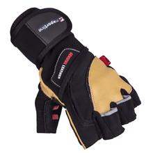 Leather Fitness Gloves inSPORTline Trituro - Black-Yellow