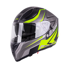Integral Motorcycle Helmet W-TEC V128 Graphic - Black-Fluo Yellow