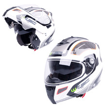 Flip-Up Motorcycle Helmet W-TEC NK-839 - S-Cape White Red
