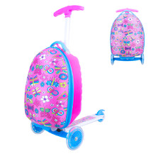Children's Scooter with a Suitcase WORKER Lagy - Pink