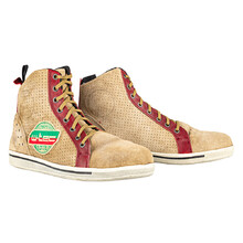 Motorcycle Shoes W-TEC SmokinJoe - Beige with Red Stripe