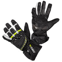 Motorcycle Gloves W-TEC Evolation - Black-White-Fluo