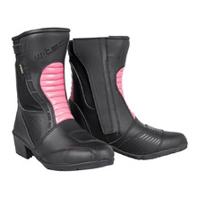 Women's Leather Motorcycle Boots W-TEC Beckie W-5036 - Black-Pink