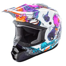 Children's Motocross Helmet Fly Racing Kinetic Youth Invasion - White-Pink