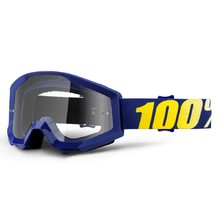 Motocross Goggles 100% Strata - Hope Blue, Clear Plexi with Pins for Tear-Off Foils