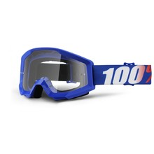 Motocross Goggles 100% Strata - Nation Blue, Clear Plexi with Pins for Tear-Off Foils
