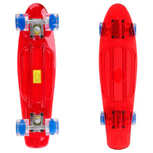Pennyboard Maronad Retro Transparent W/ Light Up Wheels - Red