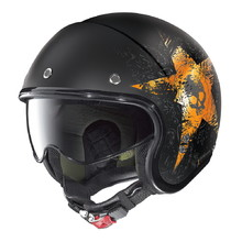 Motorcycle Helmet Nolan N21 Skull - Flat Black-Orange