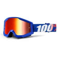 Motocross Goggles 100% Strata - Nation Blue, Red Chrome Plexi with Pins for Tear-Off Foils
