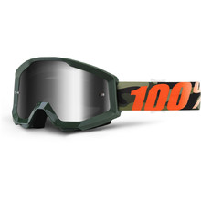 Motocross Goggles 100% Strata - Huntitistan Dark Green, Silver Chrome Plexi with Pins for Tear-O