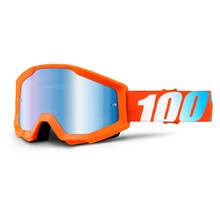 Motocross Goggles 100% Strata - Orange, Blue Chrome Plexi with Pins for Tear-Off Foils