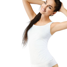 Women's Long Sleeveless Undershirt Bamboo PureLine - White