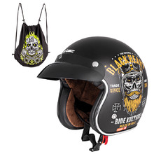 Motorcycle Helmet W-TEC Kustom Black Heart - Ride Culture, Matte Black