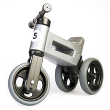 2-in-1 Balance Bike/Tricycle FUNNY WHEELS Rider Sport - Silver Grey