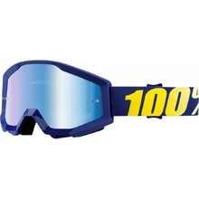 Motocross Goggles 100% Strata - Hope Blue, Blue Chrome Plexi with Pins for Tear-Off Foils