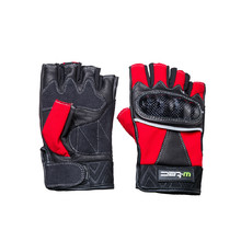Leather Fingerless Moto Gloves W-TEC Reubal NF-4190 - Black-Red