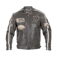 Men's Leather Motorcycle Jacket W-TEC Antique Cracker - Brown-Grey