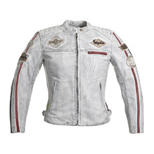 Women's Leather Motorcycle Jacket W-TEC Sheawen Lady White - White