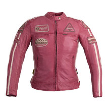 Women's Leather Motorcycle Jacket W-TEC Sheawen Lady Pink - Pink