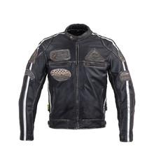 Men's Leather Motorcycle Jacket W-TEC Sheawen Vintage - Black
