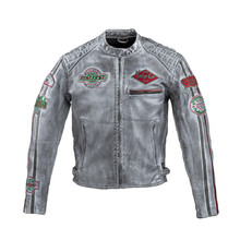 Men's Leather Motorcycle Jacket W-TEC Sheawen Worn Grey