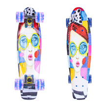 "Penny Board ArtFish Face 22"" with Light-Up Wheels - Silver"