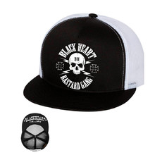 Snapback Hat BLACK HEART Bastard Skull Trucker - White