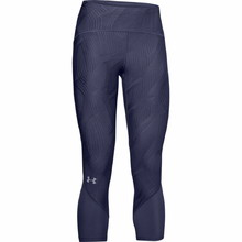Women's Capri Leggings Under Armour Fly Fast Jacquard Crop - Blue Ink