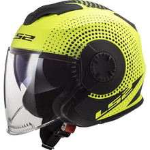 Motorcycle Helmet LS2 OF570 Verso - Spin Matt Hi Vis Yellow