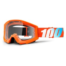 Motocross Goggles 100% Strata - Orange, Clear Plexi with Pins for Tear-Off Foils