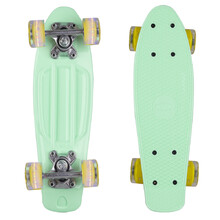"Mini Penny Board WORKER Pico 17"" with Light Up Wheels - Blue Board, Yellow Wheels"