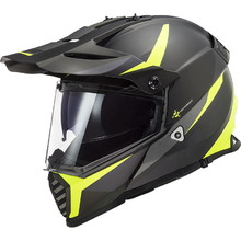 Motorcycle Helmet LS2 MX436 Pioneer Evo - Router Matt Black H-V Yellow