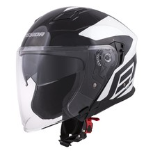 Motorcycle Helmet Cassida Jet Tech Corso - Black/White