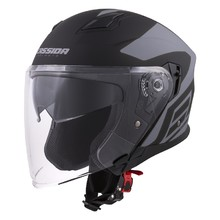 Motorcycle Helmet Cassida Jet Tech Corso - Black Matte/Grey