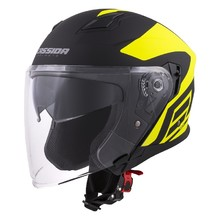 Motorcycle Helmet Cassida Jet Tech Corso - Black Matt/Fluo Yellow