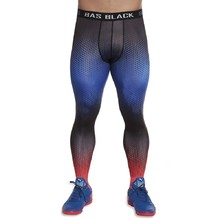 Men's Sports Leggings BAS BLACK Quantum - Blue-Red