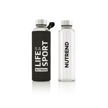 Glass Water Bottle with Thermal Cover Nutrend Active Lifestyle 500ml - Black