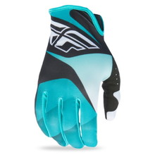 Motorcycle Gloves Fly Racing Lite XVII - Black/White/Turquoise