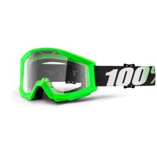 Motocross Goggles 100% Strata - Arkon Light Green, Clear Plexi with Pins for Tear-Off Foils