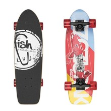 "Mini Longboard Fish Old School Cruiser Szczupak 26"" - Silver-Transparent Red"