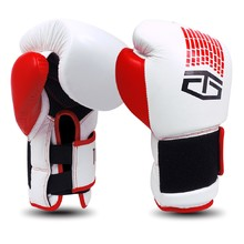 Leather Boxing Gloves Tapout Dynamo - White/Red