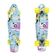 "Penny Board Fish Print 22"" - Silver-Yellow Cats"