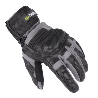 Winter Leather/Textile Moto Gloves W-TEC NF-4070 - Grey-Black