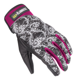 Women's Leather Moto Gloves W-TEC NF-4208 - Black-Pink