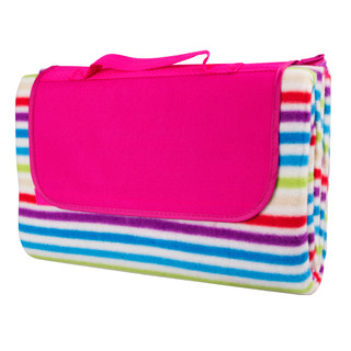 Picnic Blanket inSPORTline 130 x 180cm - Pink With Stripe