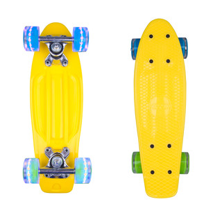 "Mini Penny Board WORKER Pico 17"" with Light Up Wheels - Yellow"
