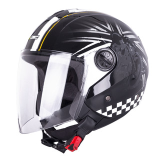 Open Face Helmet W-TEC FS-715B Union Black - Black and Graphics