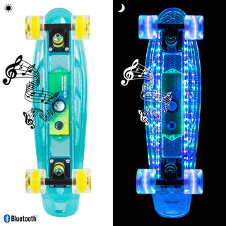 "Light-Up Penny Board WORKER Ravery 22"" with Bluetooth Speaker - Transparent Blue/Green"
