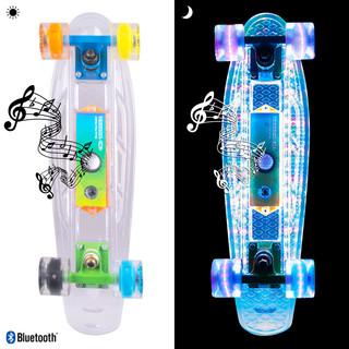 "Light-Up Penny Board WORKER Ravery 22"" with Bluetooth Speaker - Transparent/Orange"