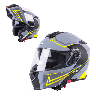 Flip-Up Motorcycle Helmet W-TEC V271 - Black-Yellow